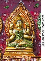 Hindu Goddess - Image of Hindu Goddess on the wall of Kali...