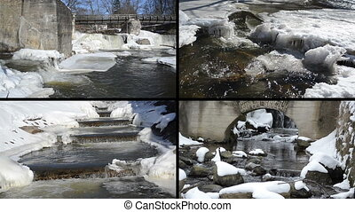 winter waterfall collage - River spring waterfall water...