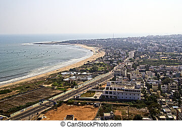 Vishakhapatnam - Aerial view to Vishakhapatnam City from...