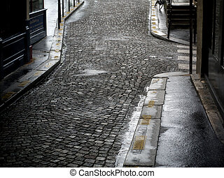 Quite street. - Street in old Paris in the morning.