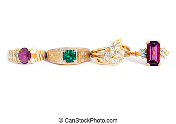 gold rings - different colored stone rings with gold bands...