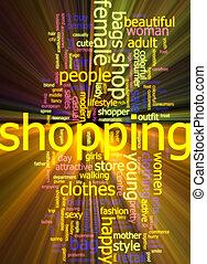 Shopping word cloud glowing