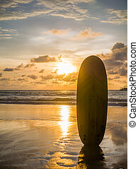 Surf board on the ocean beach at sunset on Bali island,...