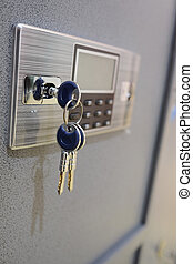 safe keys - closeup deposit box with key