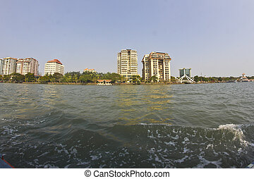 Ernakulam cityline, view from the Arabian sea