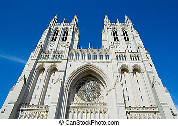 National Cathedral - The National Cathedral with Blue Sky in...