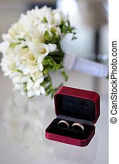 fiori, anelli, matrimonio