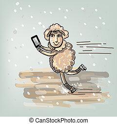 Selfie, en, el, skates.,