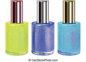 Nail polish with silver cap. Vector set. - Nail polish with...