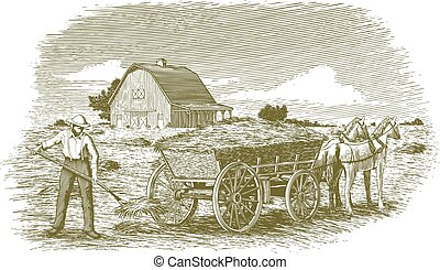 Woodcut Hay Farmer - Woodcut-style illustration of a man...