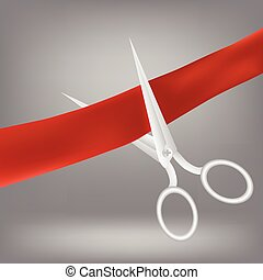 red ribbon and scissors - colorful illustration with red...