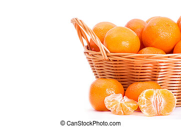 tangerine or mandarin fruit isolated on white background...