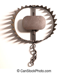 Bear Trap - Bear trap on white background with clipping path...