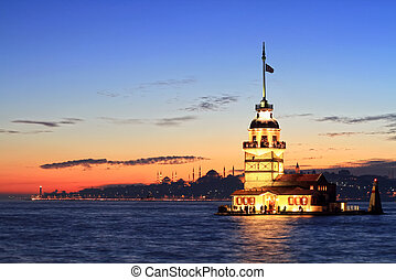 Istanbul Maiden Tower from the east in sunset In the...