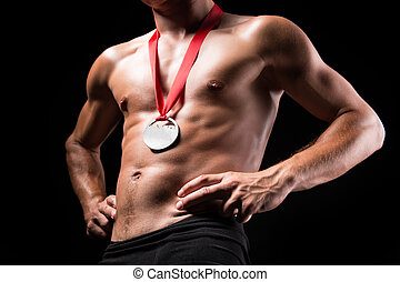 Medal on the chest - studio shoot