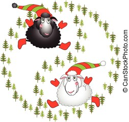 Black and white cartoon sheeps on a white background vector illustration