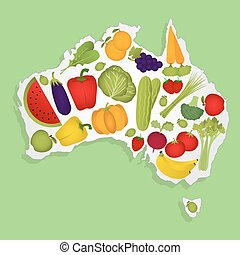 Map of Australia with fruits - Map of Australia full of...