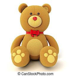 Toy teddy bear - Brown teddy bear isolated on white Isolated...