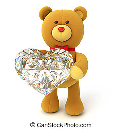 Toy teddy bear holding a large diamond heart Congratulation...