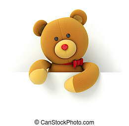 Toy teddy bear holding blank board Isolated on white...