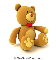Toy teddy bear isolated on white 3d render