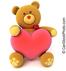 Toy teddy bear holding a heart Congratulation to wedding or...