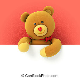Toy teddy bear holding blank board Hiding behind the corner...