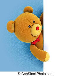 Toy teddy bear - Toy teddy bear holding blank board. Hiding...