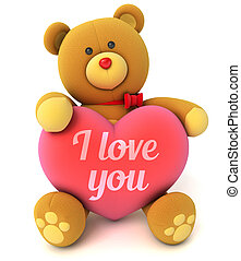 Toy teddy bear holding a heart with the words I love you...