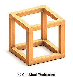 Impossible geometrical figure - Impossible cube. Optical...