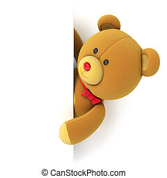 Toy teddy bear with blank board Hiding behind the corner...