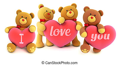 Toy teddy bear - Funny teddy bears holding big heart with...