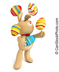 Toy teddy bunny - Happy Easter. Funny teddy rabbit juggling...