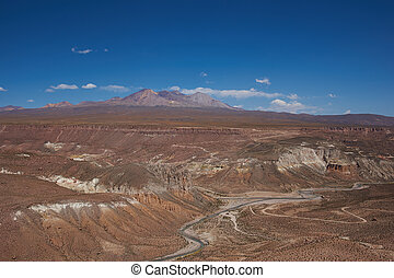 Canyon in the Altiplano - Canyon of the Rio Lluta running...