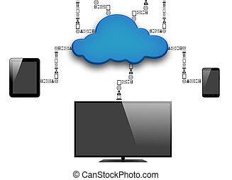Cloud and Technology - Clound and Technology on white...
