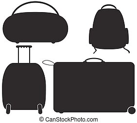 Luggage Silhouettes - Luggage silhouette designs isolated on...