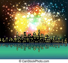 new year night silhouette fireworks