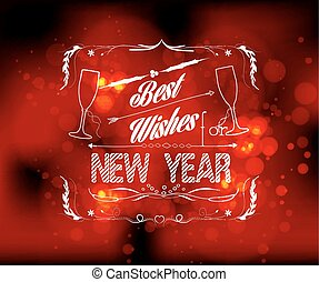 best wishes for new year greeting card