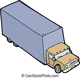 Single Cartoon Truck - Single hand drawn moving van over...