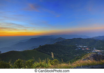 sunset at view point of E-Tong community vilage Thailand...