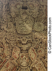 Carved Mayan stella, Copan ruins - Carved stone stella of...