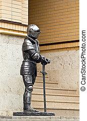 caballero, en, armadura, con, Un, sword.,