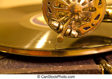 record player - vintage gramophone player with spinning...