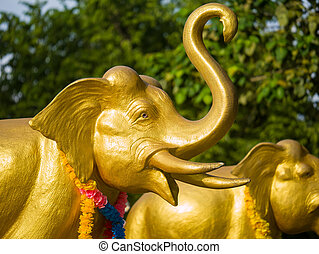 Elephants at the Phuket lighthouse temple - Elephants at the...