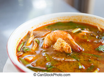 Tom yum koong - Thailand spicy prawn soup or Tom yum koong