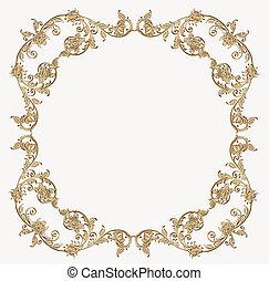 golden of floral corner - illustration metal golden floral...