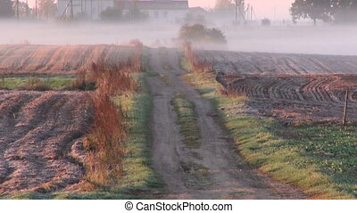 farm field and road in autumn mist - morning rural farm...
