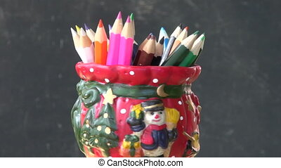 rotate set colorful pencil in vase