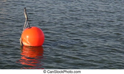 red boat yacht buoy group on sea water in port