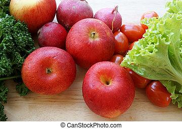 fresco, legumes, frutas